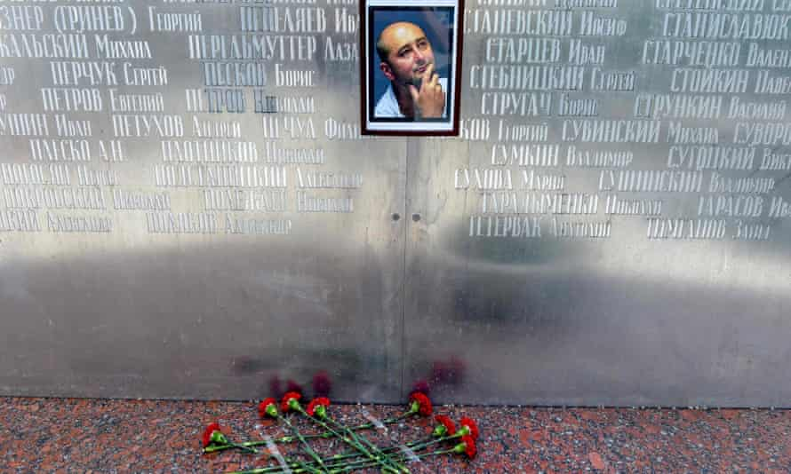 Flowers were laid outside Arkady Babchenko's Moscow house before it was revealed he was still alive.