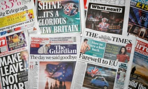 UK newspaper front pages on 1 February 2020 after Britain left the EU