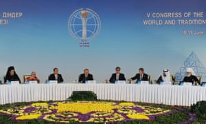 United Nations secretary general Ban Ki-moon and Kazakh president Nursultan Nazarbayev at the Fifth Congress of the Leaders of World and Traditional Religions in Astana, Kazakhstan