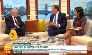 Jeremy Corbyn (left) being interviewed by Piers Morgan and Susanna Reid on ITV's Good Morning Britain.Corbyn on Good Morning Britain