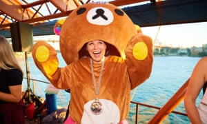 A partygoer in an animal costume at the Sydney Opera House