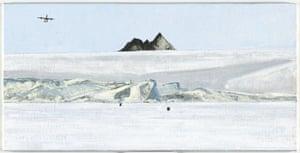 Mawson Skiway (Mt Henderson), 21/11/2013, oil on canvas board, 30.3 x 60.3 cm.