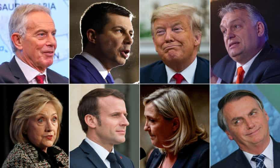 (Clockwise from top left): Tony Blair, Pete Buttiegeg, Donald Trump, Victor Orban Jair Bolsonaro, Marine Le Pen, Emanuel Macron and Hillary Clinton.