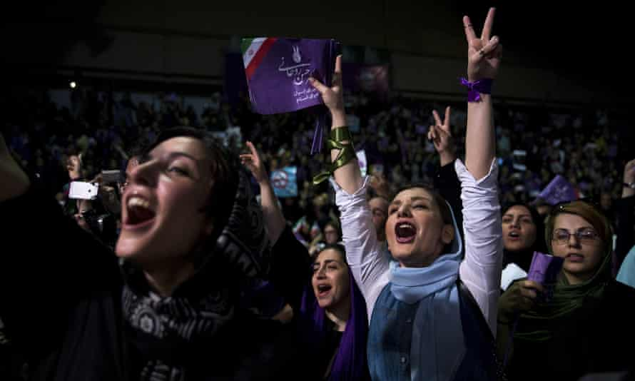 Supporters of the Iranian president, Hassan Rouhani, at an election rally in Tehran.