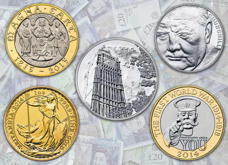 Memorial coins from the Royal Mint.