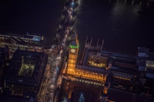 Big Ben and the Palace of Westminster (Houses of Parliament). On the left of the image you can look down into atrium of Portcullis House