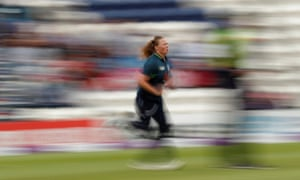 England's Anya Shrubsole in action.