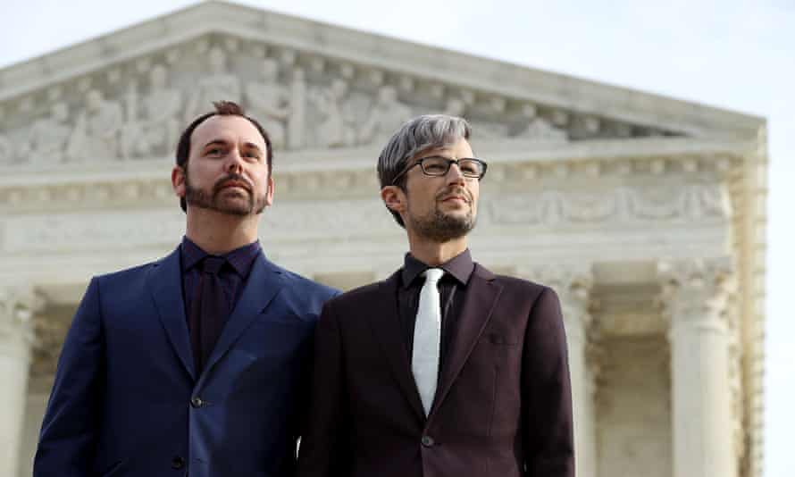David Mullins and Charlie Craig at the supreme court in Washington DC on 5 December 2017.