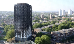 Grenfell Tower and its three adjoining blocks.