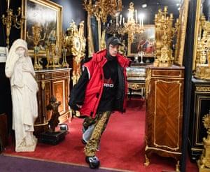 A model walks the runway during the Vetements show in Saint-Ouen, Paris