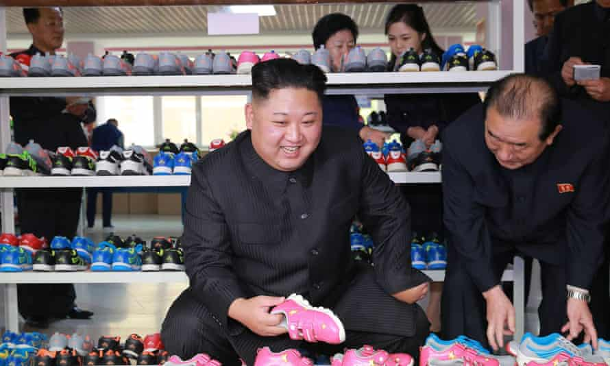 Kim during a recent visit to the Ryuwon shoe factory in Pyongyang.