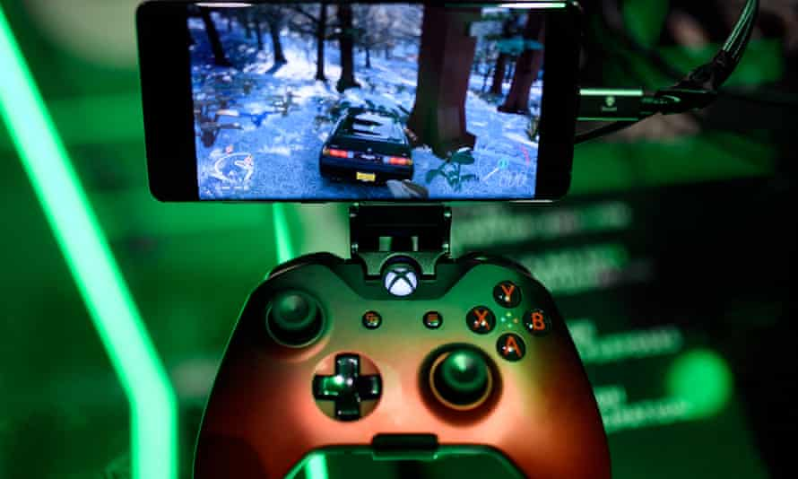 A cloud-based console is displayed at the Microsoft Xbox stand during the video games trade fair Gamescom in Cologne, Germany.