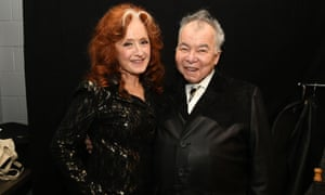 John Prine at the Grammy awards in January, with Bonnie Raitt, who performed his song Angel from Montgomery at the ceremony.
