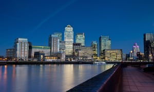The Canary Wharf financial district.