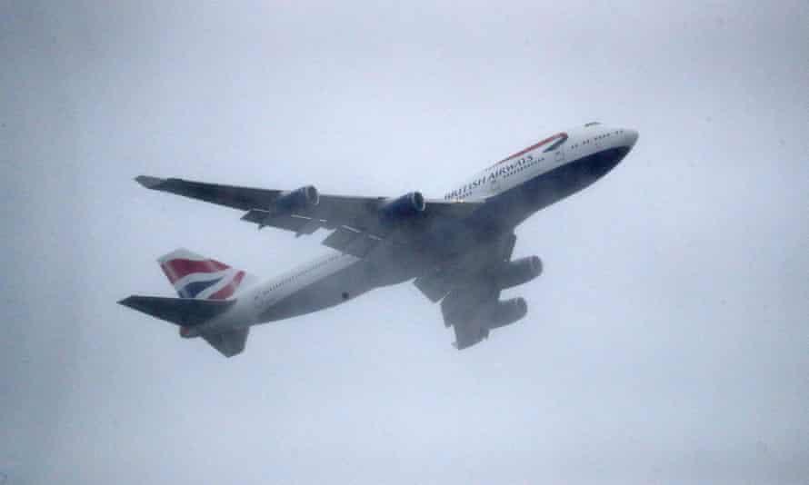 A British Airways plane in the sky