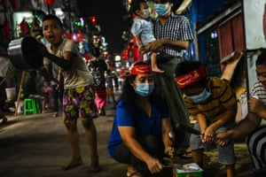People take part in a protest against the military coup in Myanmar