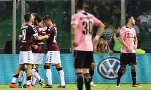 Torino's Adem Ljajic celebrates a goal with his team-mates before the lights went out in Sicily.