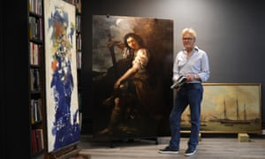 Simon Gillespie, conservator, with David and Goliath, the newly attributed Artemisia Gentileschi.