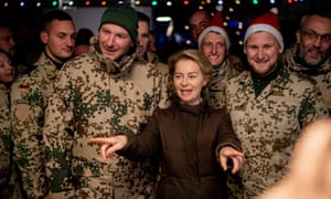 The German defence minister, Ursula von der Leyen, during a Christmas visit to the country's troops stationed in Afghanistan.