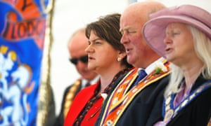 Arlene Foster at the Orange Order's annual Battle of the Boyne parade in Fife in June.