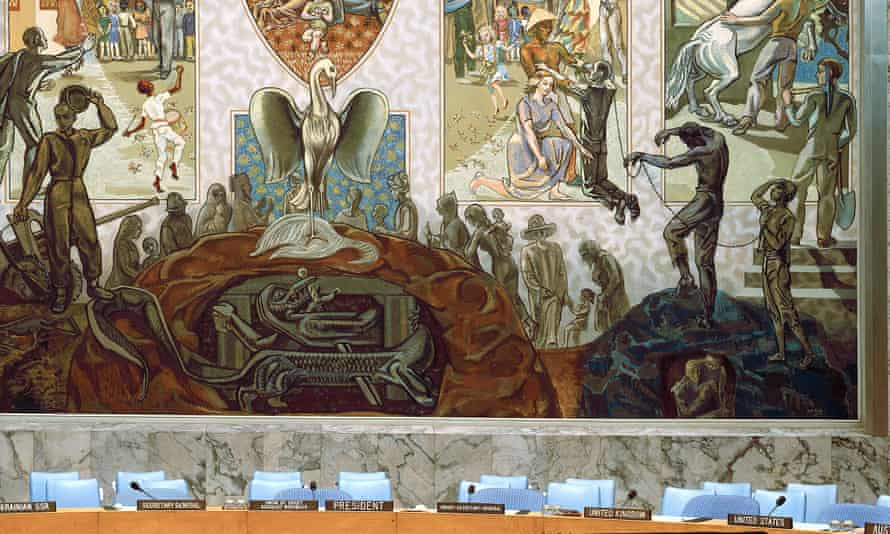 A mural in the United Nations Security Council Chamber