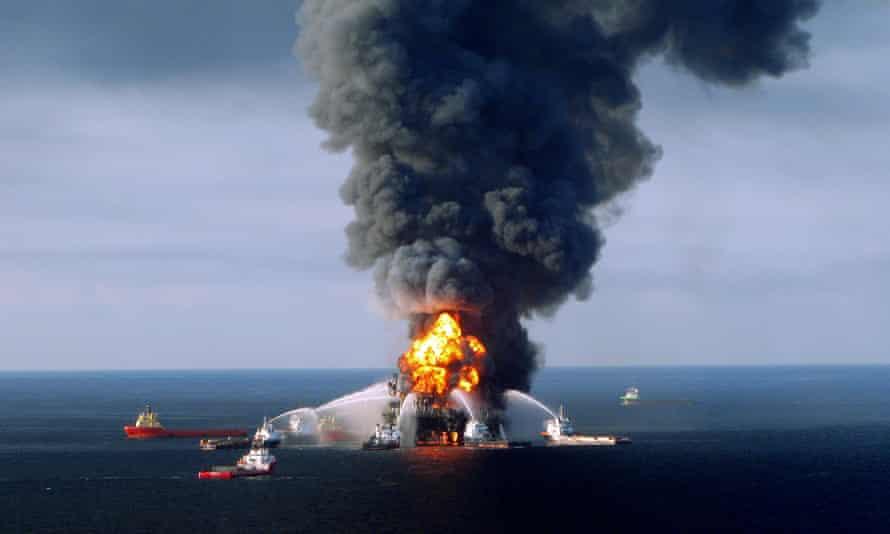 Deepwater Horizon on fire in 2010.