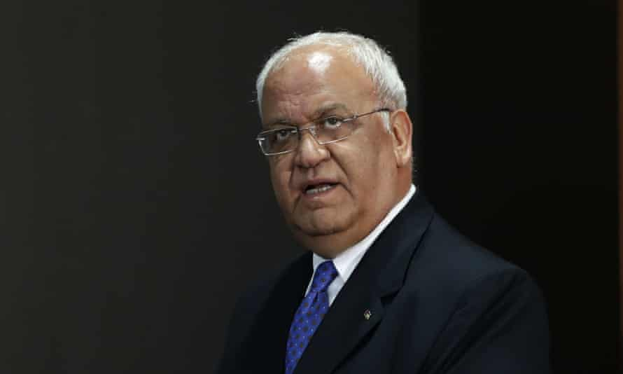 Saeb Erekat said the US had adopted the Israeli positions on Jerusalem, settlements and the right of return of Palestinian refugees: 'This is absolutely unacceptable.'