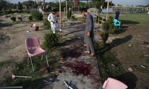 The aftermath of the explosions in Jalalabad on Friday night.