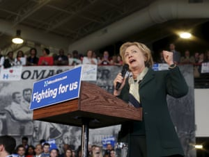 Hillary Clinton speaks during a campaign event at the Pierce Arrow Museum in Buffalo, New York.