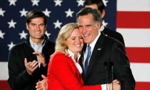 Republican presidential candidate and former Massachusetts Governor Mitt Romney hugs his wife Ann as he appeared at his Iowa Caucus night rally in Des Moines, Iowa, January 3, 2012. REUTERS/Rick Wilking (UNITED STATES - Tags: POLITICS ELECTIONS)