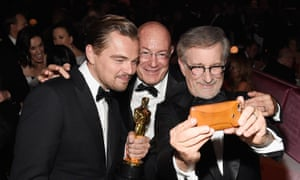 Arnon Milchan flanked by Leonardo DiCaprio and Steven Spielberg in Hollywood, California, last year.