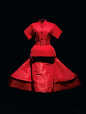 Red silk wool dress by John Galliano. Spring/summer 2009 haute couture