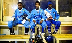 Members of the Somali Bandy team in Borlänge, Sweden