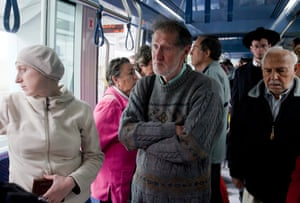 Passengers on a tram in Jerusalem observe a two-minute silence for Yom HaShoah, when the nation remembers the 6 million Jews who died during the Holocaust.