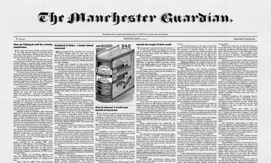 The Guardian website in 1821 mode.
