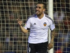Alcacer celebrates scoring his team's second goal.