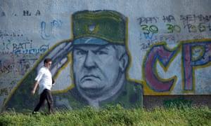 Mladić graffiti on a wall in Belgrade in 2011.