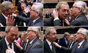 Nigel Farage and Jean-Claude Juncker.