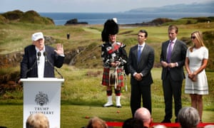 Eric, Donald and Ivanka Trump listen to their father Donald at the Grand Opening of Trump Turnberry last month.