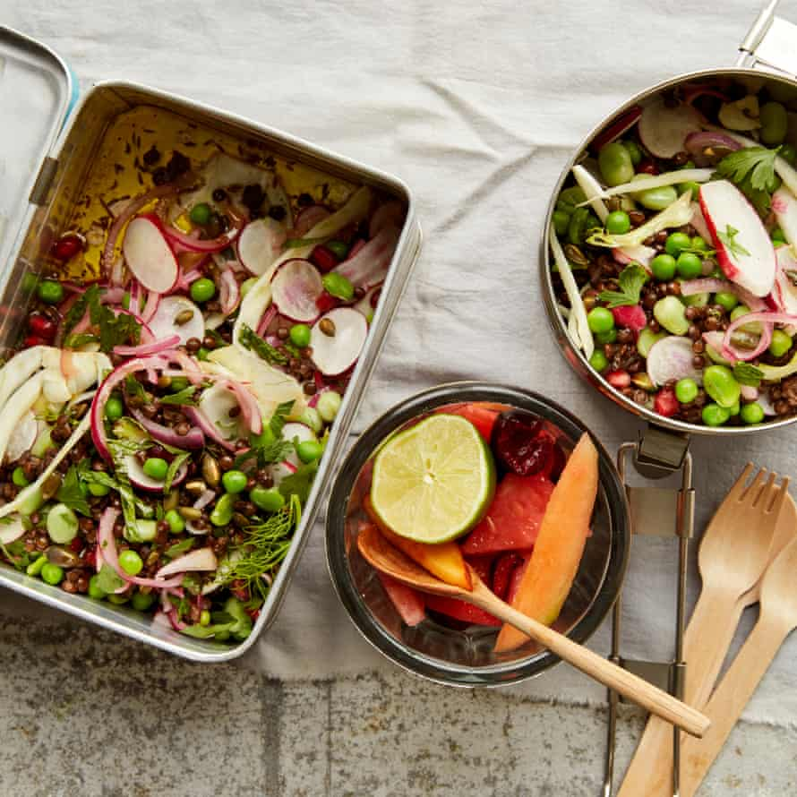 Tucker that travels: a crisp salad and fruit dressed with lime.