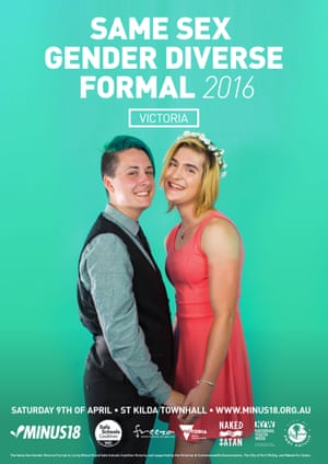 Poster for youth organisation Minus18's Melbourne formal for same-sex-attracted and gender diverse young people