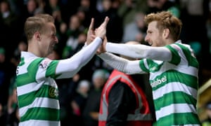 Stuart Armstrong, right, celebrates scoring Celtic's second goal against Ross County with Leigh Griffiths.