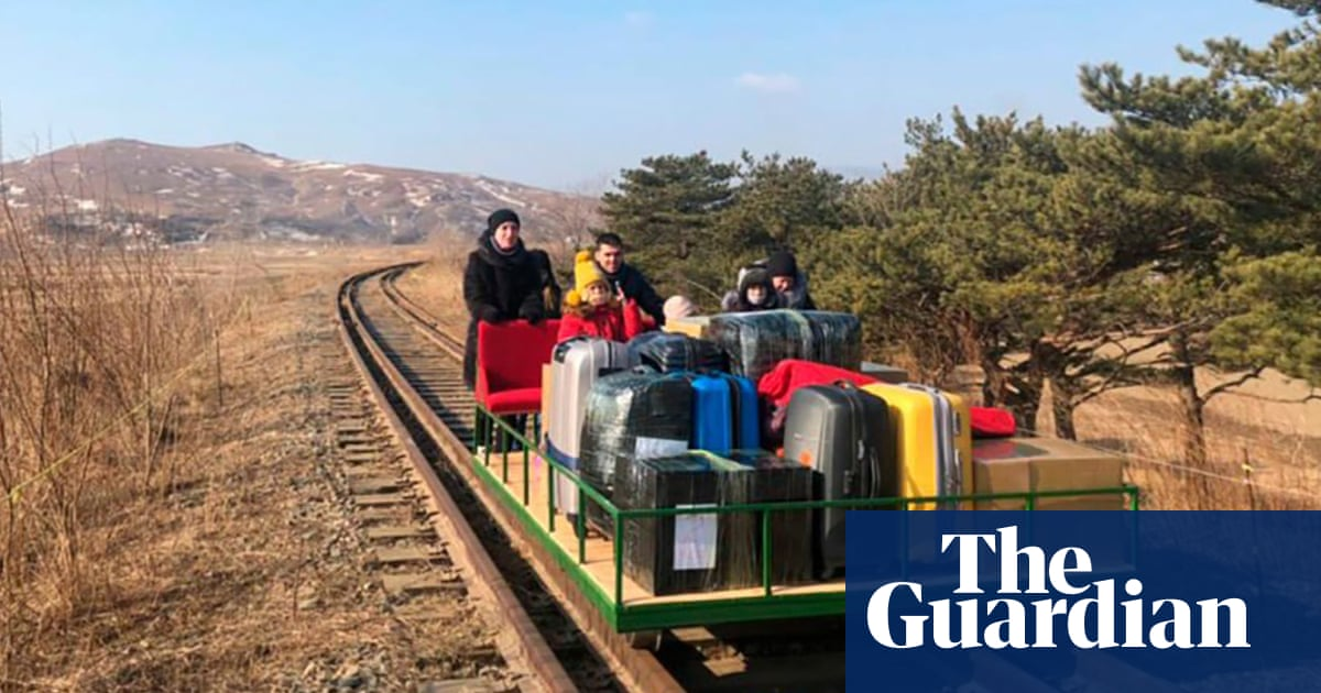 Russian diplomats leave North Korea on hand-powered rail trolley