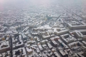 An aerial picture shows snow-covered buildings in Sofia, Bulgaria.
