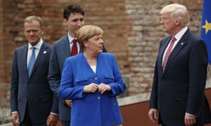 From left: Donald Tusk, Justin Trudeau, Angela Merkel and Donald Trump at the G7 summit in May