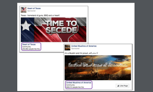 Two Russian-created Facebook pages displayed at the hearing by senator Richard Burr.