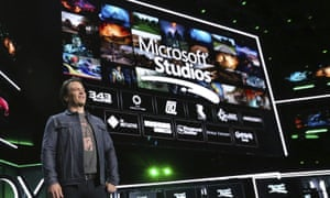 Phil Spencer, Head of Gaming at Microsoft, onstage at the Xbox E3 2018 Briefing