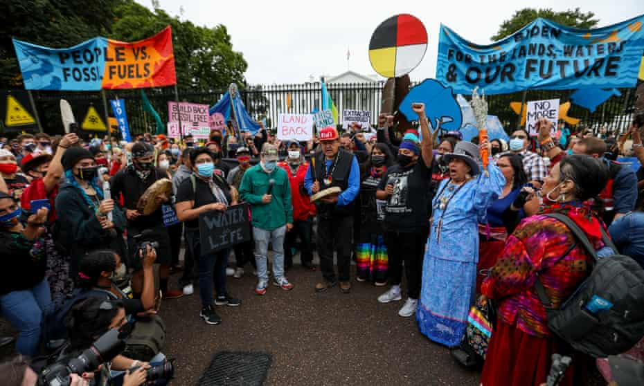 Hundreds of Native Americans and other environmental activists rallied against fossil fuels on Indigenous Peoples Day in Washington.