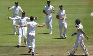 England's Jonny Bairstow congratulates Jimmy Anderson for the wicket of Faf du Plessis of South Africa.