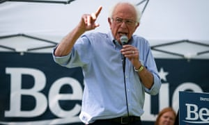 Bernie Sanders speaks at a campaign event in West Branch, Iowa, on 19 August.